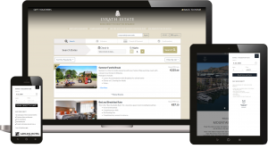 Laptop, tablet and mobile phone with booking engine displayed